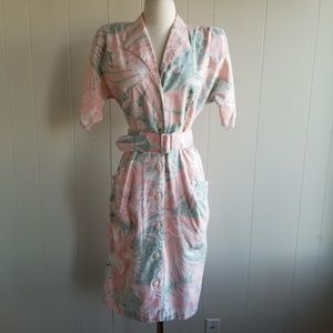 1980s Wild Dress Peach & Greenish Floral Dress